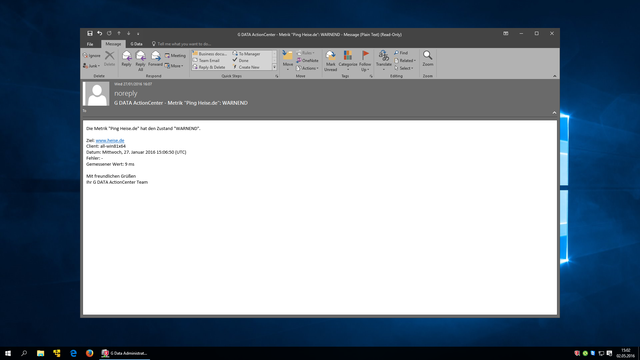 Screenshot G DATA Action Center – E-Mail-Alarm